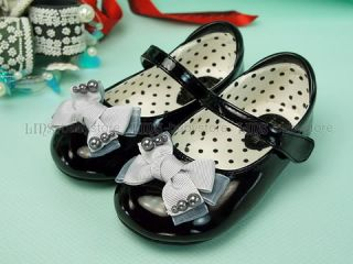 New Kids Toddler Girl Black Bow Mary Jane Shoes Size 5 6 7 8