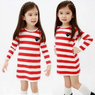 Girls Kids Top Eyes Stripe Dress AGE2 7Y Long Sleeve School Party Casual Clothes