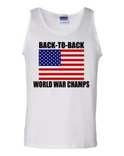 Mens White Back to Back World War Champs USA Flag DT Tank Top T Shirt