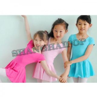 Kids Girls Ballet Costume Tutu Skirt Short Sleeve Gymnastics Leotard Dance Dress