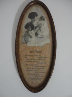 Antique Photo Print Mother Love Poem Child Baby Oval Metal Frame Matted Fr SHP