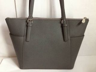 Michael Kors Saffiano Leather Jet Set Item East West Zip Top Tote Dark Slate