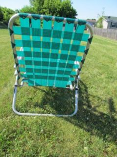 Vintage Aluminum Folding Webbed Lawn Chair Chaise Lounge Green