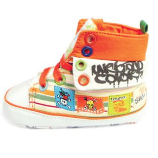 3 12M Baby Toddler Boys Girls Skulls Graffiti Art High Top Walking Shoes SA022