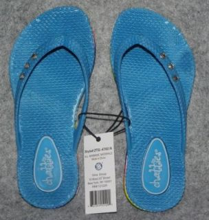 Chatties Girls Blue Flip Flops Thongs Sandals Shoes Size Youth 1 2 M