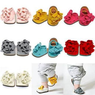 Cotton Baby Girls Soft Crib Pram Shoes Pre Walker Shoes Stylish Flower Detail