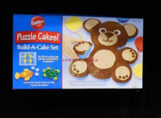 Wilton Bear Puzzle Cakes Silicone Cupcake Build A Cake Set New
