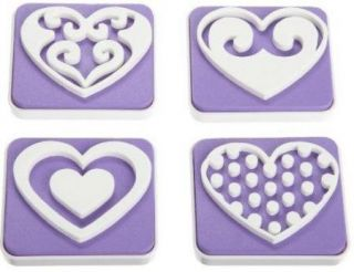 Wilton 4pc Heart Shaped Cake Cookie Stamp Set New