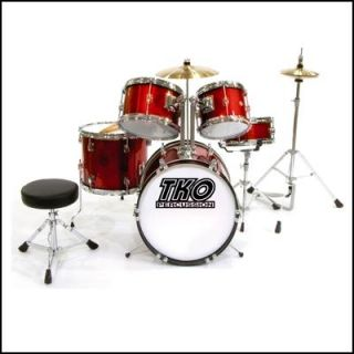 Quality 5 Piece Junior Kids Drum Kit Set Red New