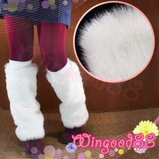 Women Shaggy White Faux Fur Shoes Sleeve Boot Cover Foot Warmer Muffs Xmas Gift