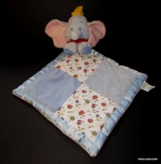 Disney Hoop Dumbo Elephant Blue White Satin Edge Velour Security Blanket Baby