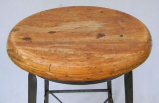 Vintage Industrial Machine Age Drafting Metal Wood Shop Stool