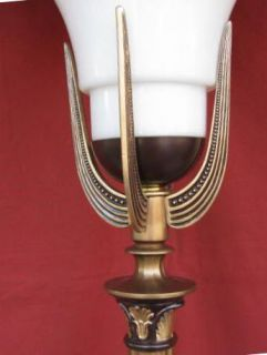 1930s Art Deco Torchiere w Glass Shade