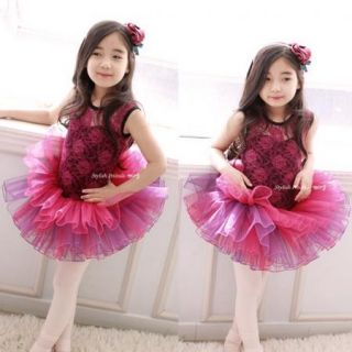 Girls Kids Party Fairy Ballet Dancewear Tutu Skirt Flowers Dresses 3 8Y Clothing