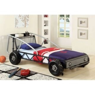 Silver Black Red Yellow Twin Racer Car Bed with Useful Shelf on Headboard