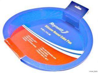 Lot of 2 Reynolds Silicone Non Stick Blue Round Cake Pans 9 x 1 x 1 1 2 New
