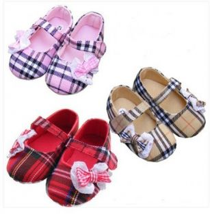 Baby Toddler Girls Tartan Designer Shoes Red Pink Beige Cute First Size Pram