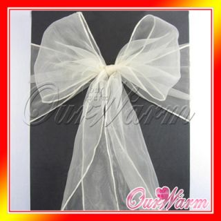 50 Ivory White Beige Cream Pearl Chair Organza Sash Bow Wedding Party Decoration