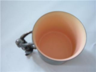 Vtg Reed Barton Silver Plate Pink Enamel Baby Child's Cup Bunny Rabbit Handle