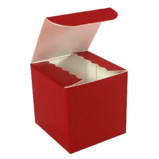 "Cupcake Cookie Candy Favor Gift Boxes 4x4x4"" 25 PC Red"