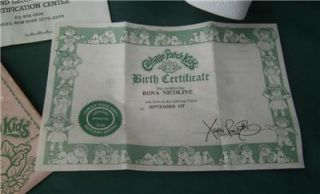 1985 Vintage Rona Nicoline Cabbage Patch Kid Baby Girl Doll Birth Certificate