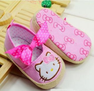 New Hot Infant Baby Girl Cute HelloKitty Pre Walker Shoes Trainer Shoes