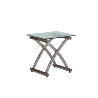 Stylish Modern Contemporary Glass Metal End Table