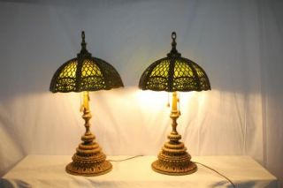 French Art Nouveau Pair Antique Stained Leaded Slag Glass Lamp