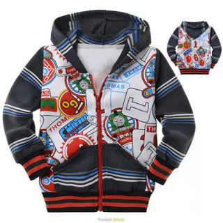 2 9 Years Toddler Kids Boys Thomas Long Sleeve Fleece Hooded Coat Jacket YY8207