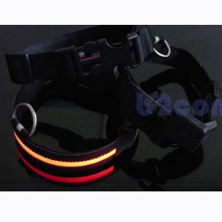 Black Nylon LED Dog Pet Flashing Light Up Collar Night Safety Collar s M L XL