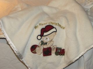 "First Impressions ""My First Christmas"" Plush White Baby Blanket w Santa Bear"