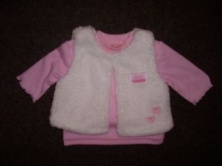 Baby Girls Pink 3 Piece Pinafore Dress Top Fur Bodywarmer Set Outfit 0 3 Mths