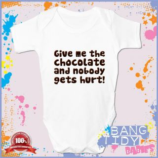 Funny Baby Grow Vest Give Me The Chocolate Boy Girl Babies Clothing Fun Gift