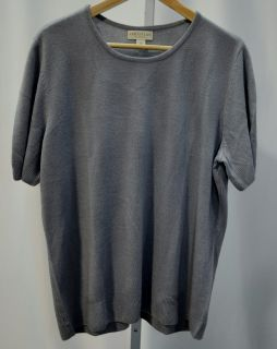 Appleseed's Womens 1x Scoop Neck Short Sleeve Sweater Silver Gray NWD