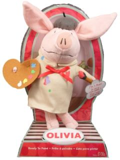 "New Olivia 9"" Plush Pig Stuffed Toy Doll Artist Painter"
