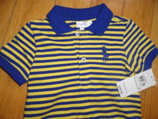 Polo Ralph Lauren Baby Infant Toddler Boy Boys Striped Cotton Romper 9M