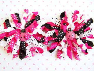 "New Baby Girls ""Pink Black Ribbon Ladybug"" Sz 3 6M Dress Clothes"
