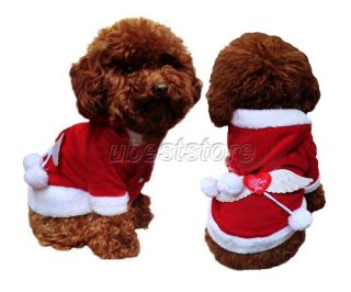 Cute Warm Xmas Cotton Red Hoodie Dog Clothes Christmas Angel Wings Cotton Padde