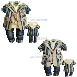 3pcs Set Suit Hoody Pants Handsome Baby Boys Clothes Kids Outfits Clothing SC