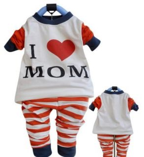 Baby Toddler Boy Girl Love Mom Dad Monkey Pajama Set Cute 6 12 18 24 3
