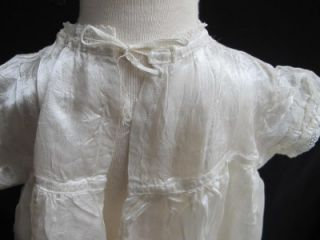 Antique Edwardian Valenciennes Lace Cream Silk Baby's Christening Gown Dress