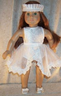 "Doll Clothes 18"" inch Ice Skate Dance Fit American Girl White Leotard Skirt 3pcs"