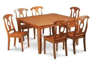 9pc Square Dinette Kitchen Dining Table Set 8 Wood Chairs in Saddle Brown