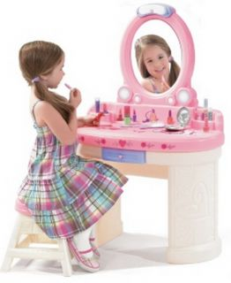 New Kids Girls Pink Play Dress Up Vanity with Mirror Stool 3 PC Accessory Set
