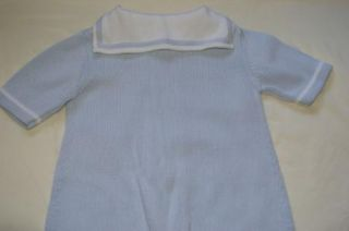 Hartstrings Baby Boys Sz 24 Months Blue Sailor Nautical Sweater Romper One Piece