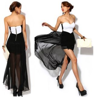 Women Sexy Chiffon Asymmetric Strapless Dress Cocktail Party Evening Dress