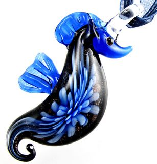 1pc Blue Sea Horse Lampwork Murano Art Glass Pendant Ribbon Necklace Cord