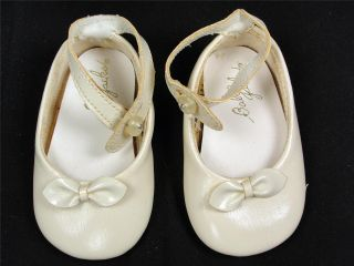 Vintage Girl's Baby Jacks Shoes White Faux Patent Leather Mary Jane Infant Doll