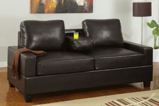 Modern Cozy Espresso Faux Leather 2 Seat Sofa Loveseat w Console Cup Holders