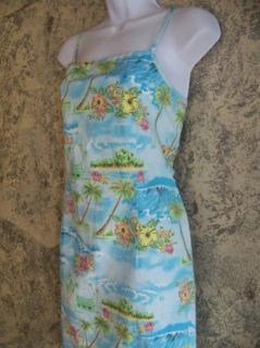 Tropical Beach Print Blue Sundress Summer Dress Women's Large Spaghetti Straps